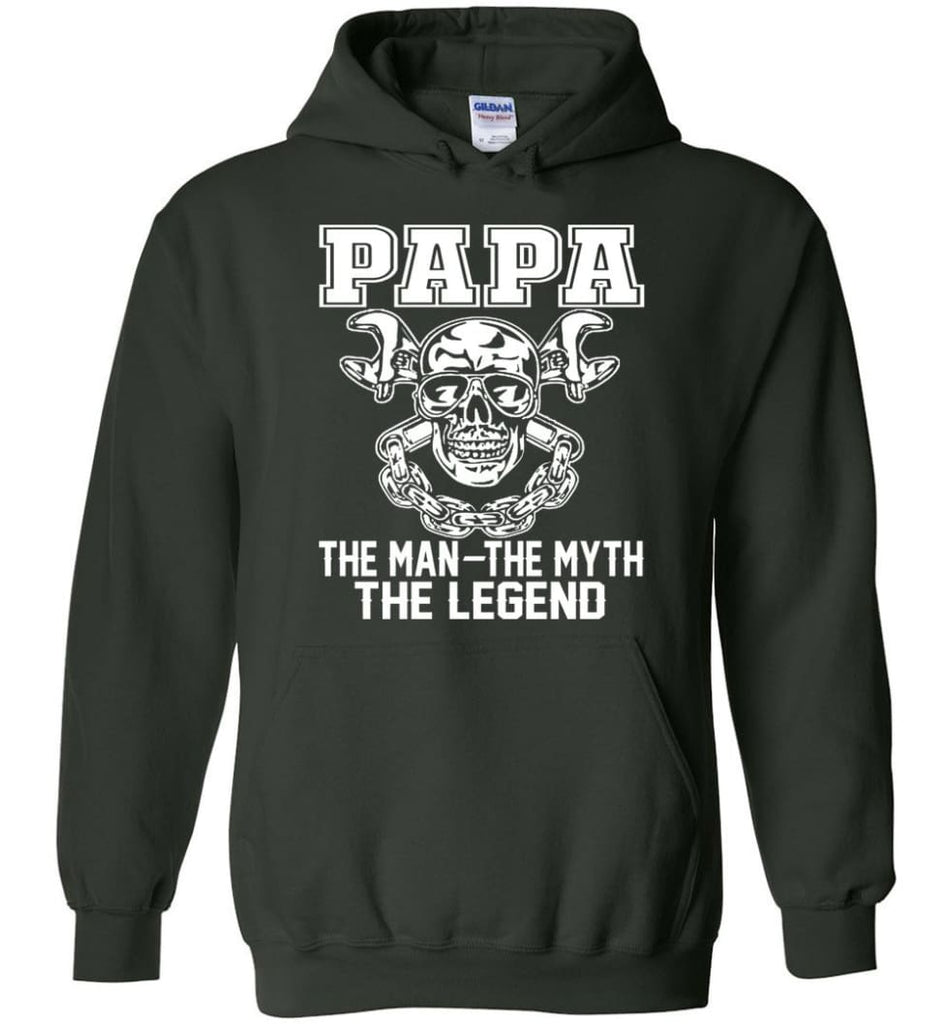 Papa Legend Shirt The Man The Myth The Legend - Hoodie - Forest Green / M