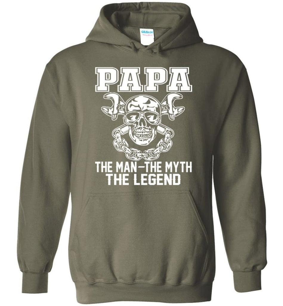 Papa Legend Shirt The Man The Myth The Legend - Hoodie - Military Green / M