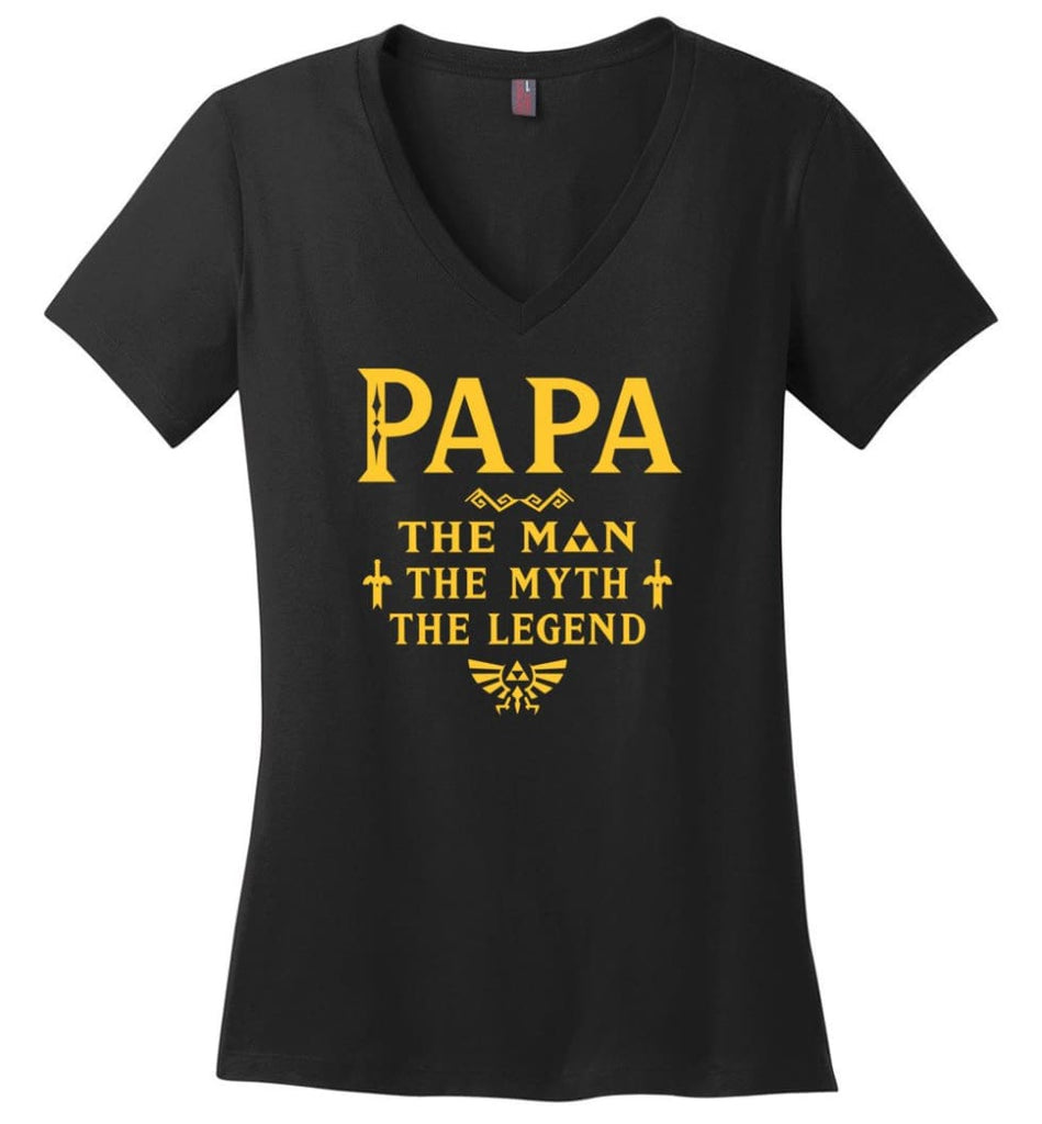 Papa The Man Myth The Legend Gift For Papa Grandpa Daddy Ladies V-Neck - Black / S