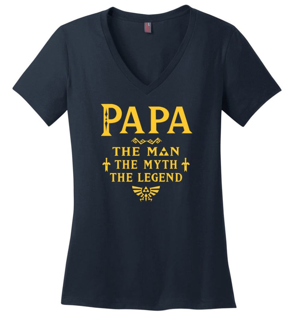 Papa The Man Myth The Legend Gift For Papa Grandpa Daddy Ladies V-Neck - Navy / S