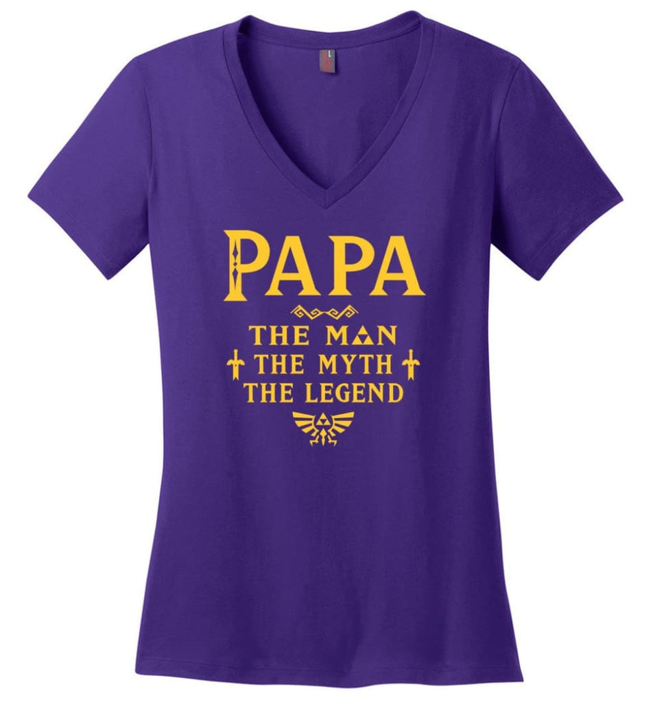 Papa The Man Myth The Legend Gift For Papa Grandpa Daddy Ladies V-Neck - Purple / S