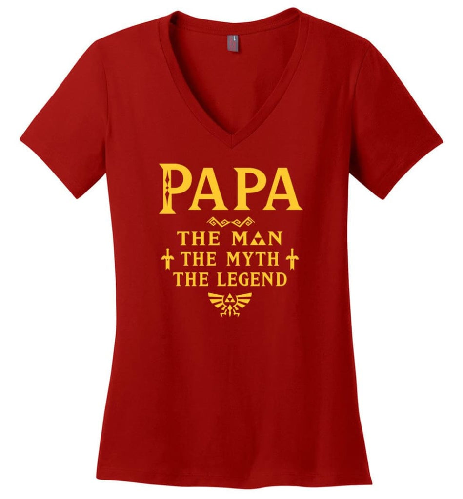 Papa The Man Myth The Legend Gift For Papa Grandpa Daddy Ladies V-Neck - Red / S