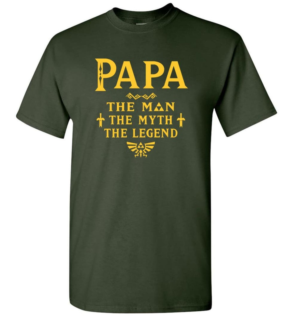 Papa The Man Myth The Legend Gift For Papa Grandpa Daddy T-Shirt - Forest Green / S