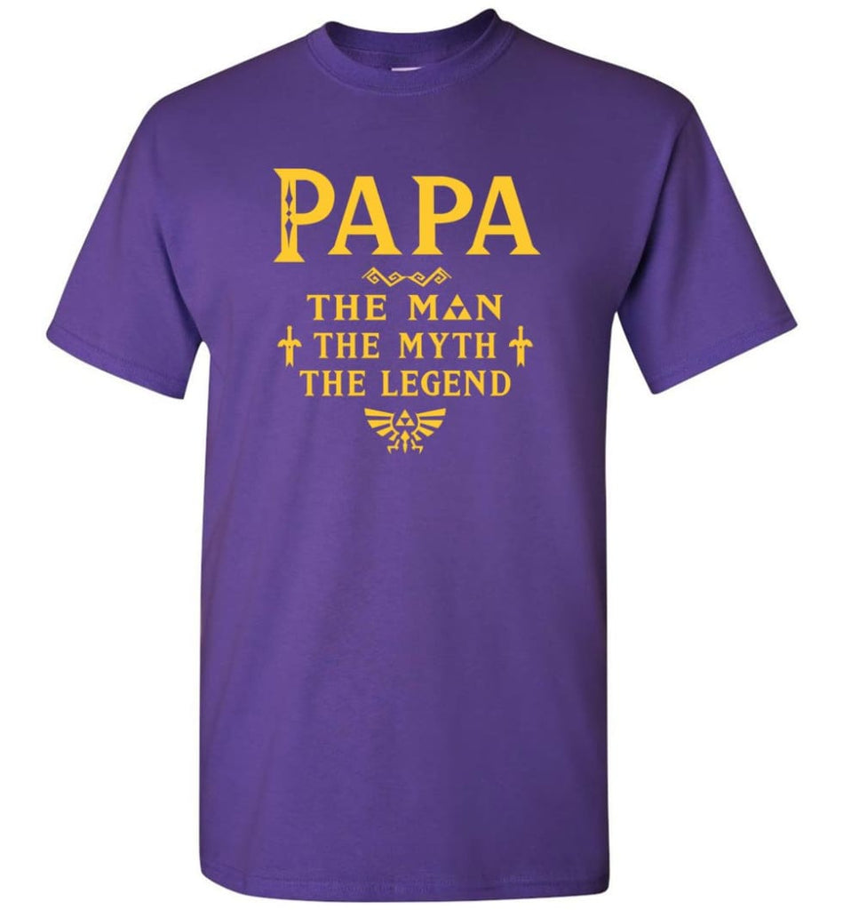 Papa The Man Myth The Legend Gift For Papa Grandpa Daddy T-Shirt - Purple / S