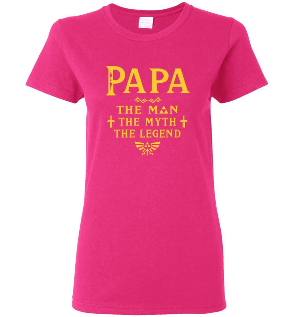 Papa The Man Myth The Legend Gift For Papa Grandpa Daddy Women Tee - Heliconia / S