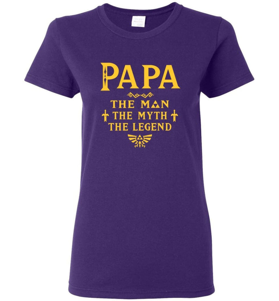 Papa The Man Myth The Legend Gift For Papa Grandpa Daddy Women Tee - Purple / S