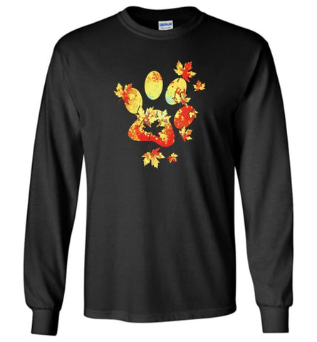 Paw Print T Shirt Dog Cat Puppy Kitten Hand Cute Simple Dog - Long Sleeve - Black / M - Long Sleeve