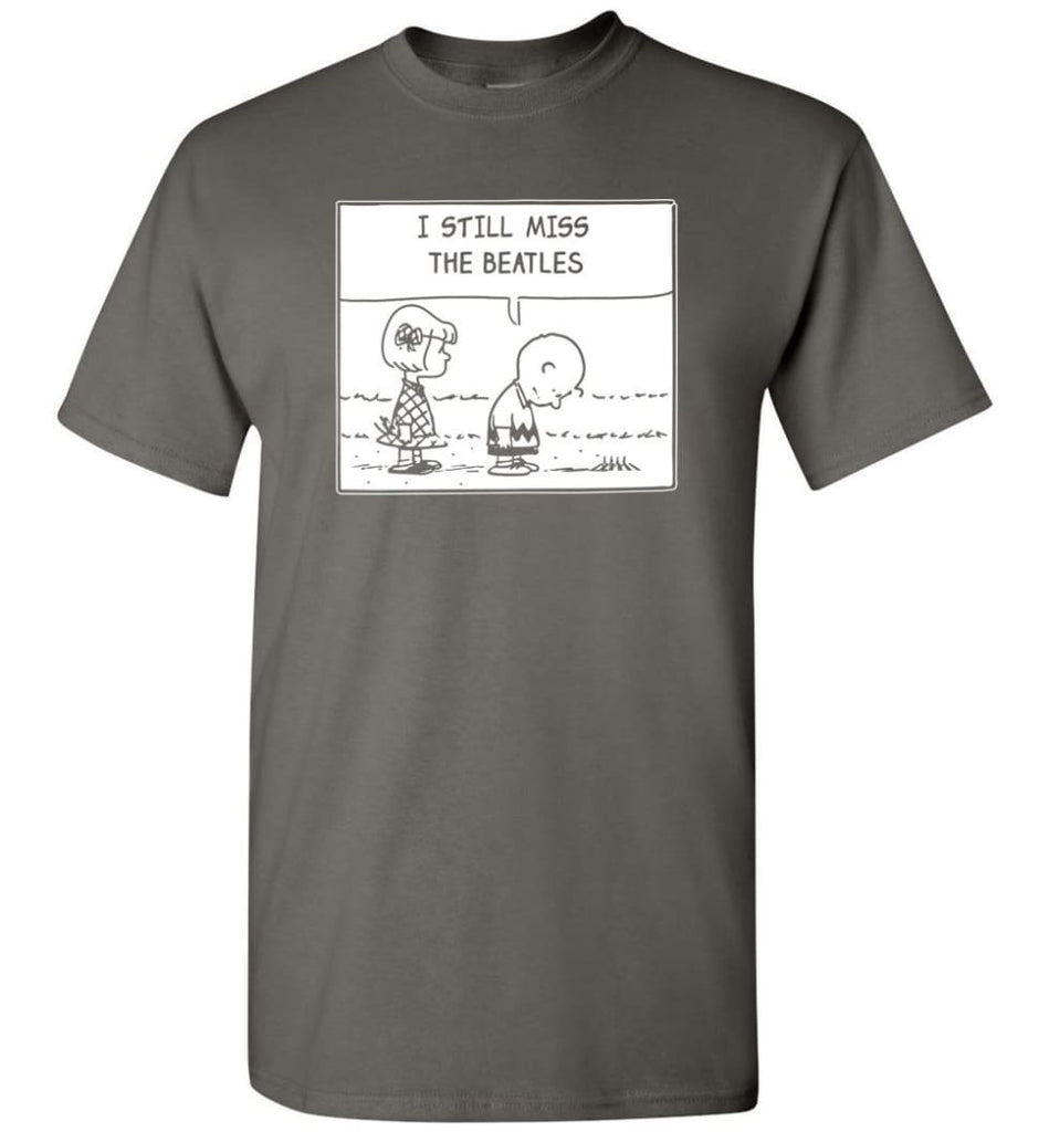 Peanuts Beatles T Shirt Charlie Brown I Still Miss The Beatles T-Shirt - Charcoal / S