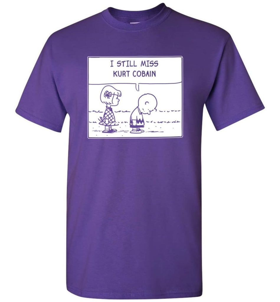 Peanuts Kurtt Cobain T Shirt Charlie Brown I Still Miss Kurtt Cobain - T-Shirt - Purple / S