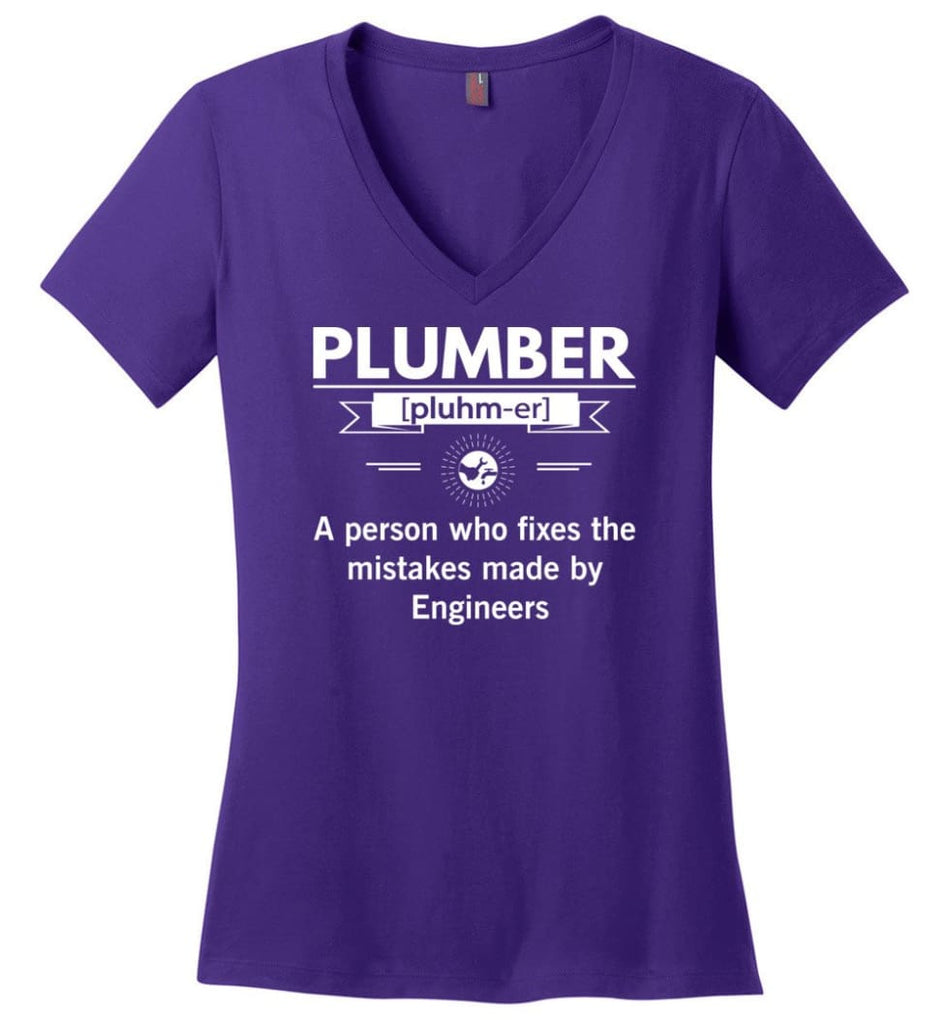 Plumber Definition Funny Plumber Meaning Ladies V-Neck - Purple / M