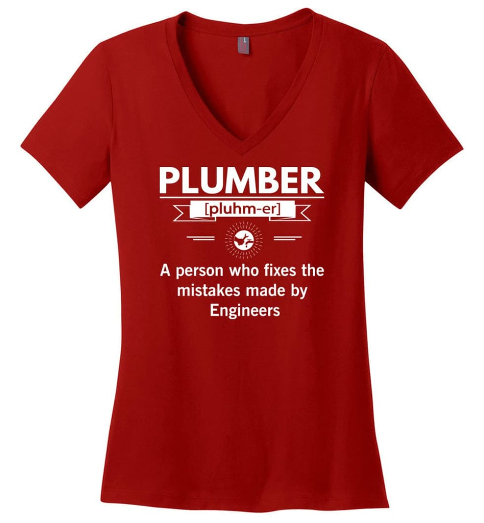 Plumber Definition Funny Plumber Meaning Ladies V-Neck - Red / M