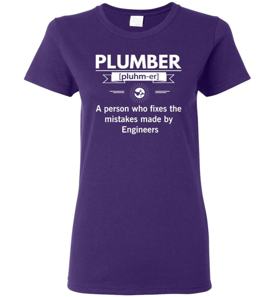 Plumber Definition Funny Plumber Meaning Women Tee - Purple / M