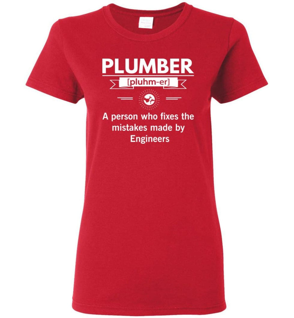 Plumber Definition Funny Plumber Meaning Women Tee - Red / M