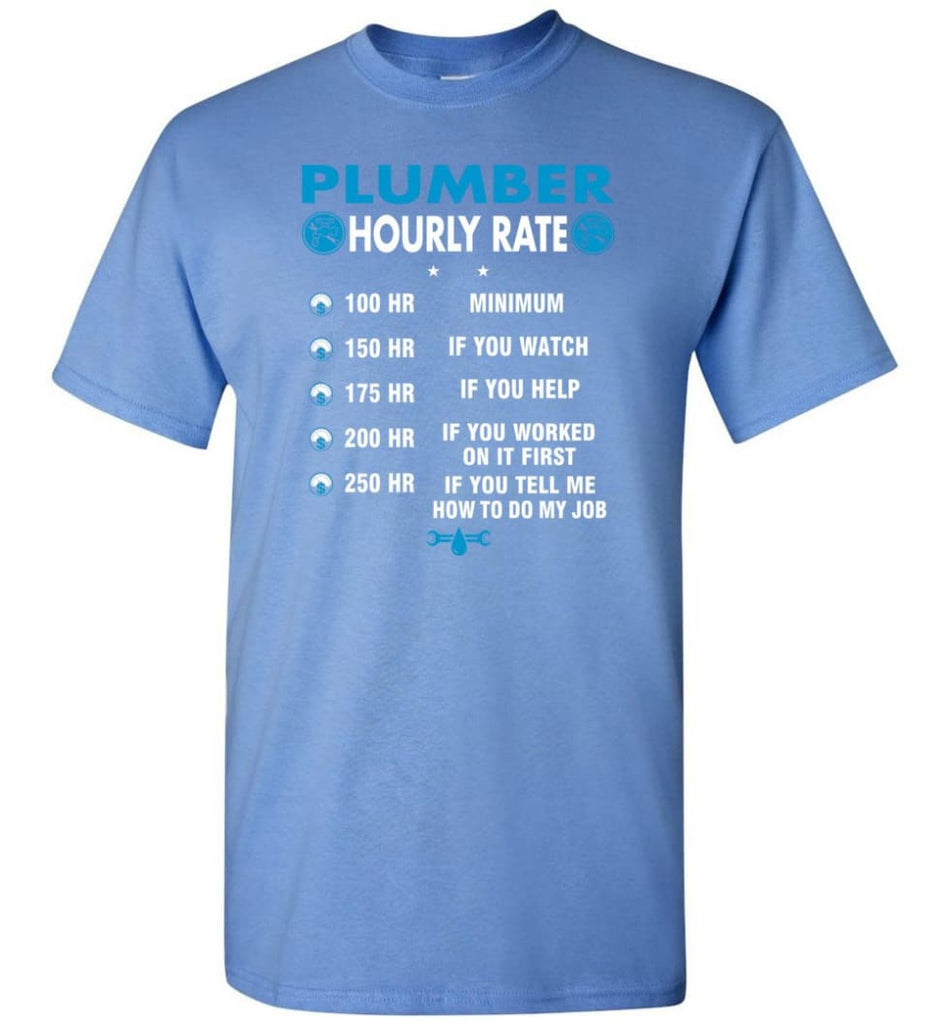 Plumber Hourly Rate Funny Plumber T-Shirt - Carolina Blue / S