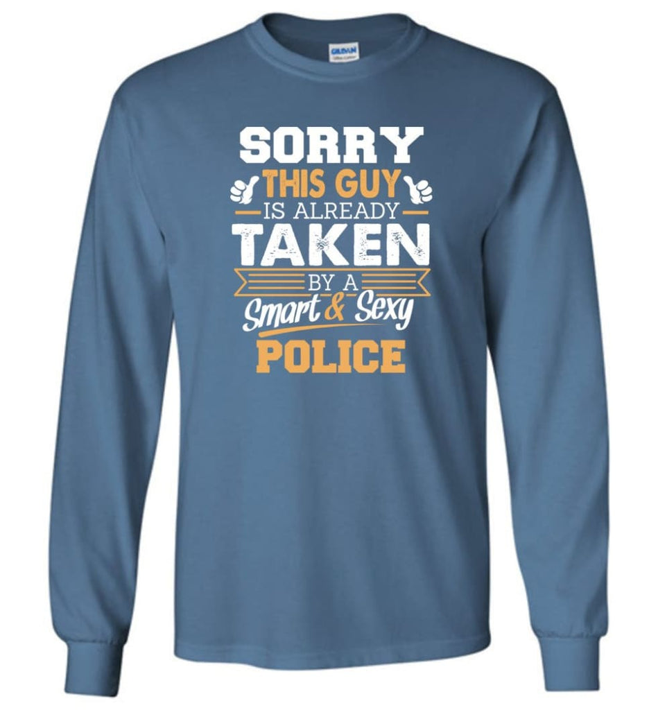 Police Shirt Cool Gift for Boyfriend Husband or Lover - Long Sleeve T-Shirt - Indigo Blue / M