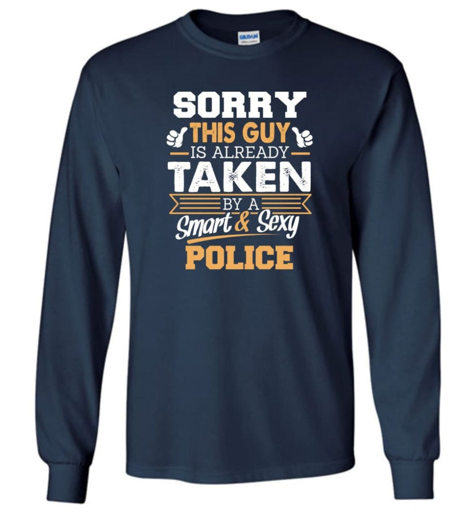 Police Shirt Cool Gift for Boyfriend Husband or Lover - Long Sleeve T-Shirt - Navy / M