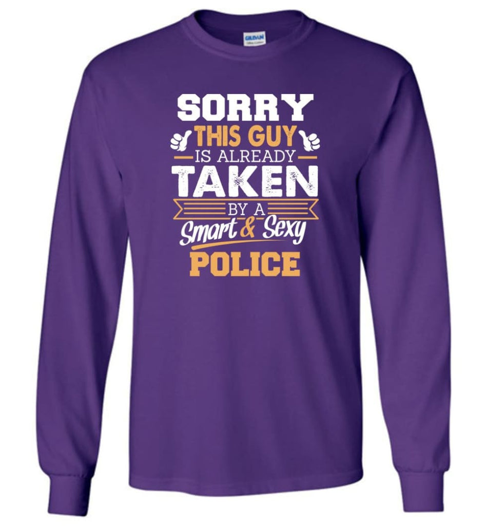 Police Shirt Cool Gift for Boyfriend Husband or Lover - Long Sleeve T-Shirt - Purple / M