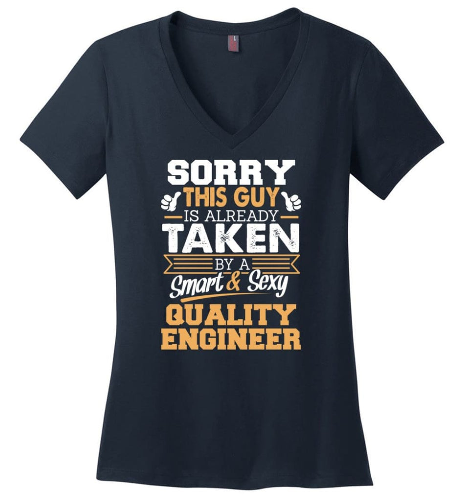 Project Engineer Shirt Cool Gift for Boyfriend Husband or Lover Ladies V-Neck - Navy / M - 8