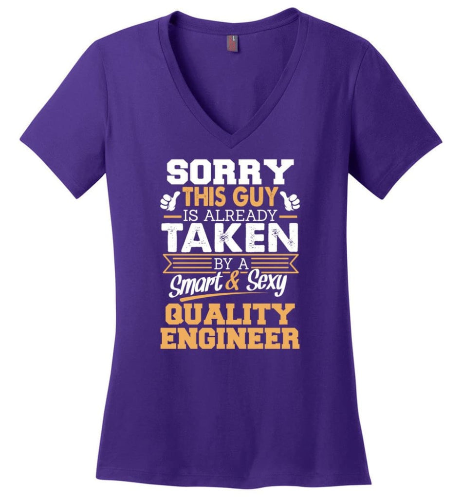 Project Engineer Shirt Cool Gift for Boyfriend Husband or Lover Ladies V-Neck - Purple / M - 8