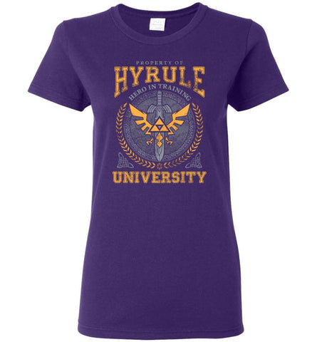 Property Of Hyrule Hero in Training University Link Zelda Ladies T-shirts - Purple / M