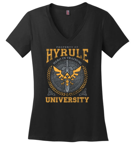 Property Of Hyrule Hero in Training University Link Zelda Ladies V-Neck - Black / M