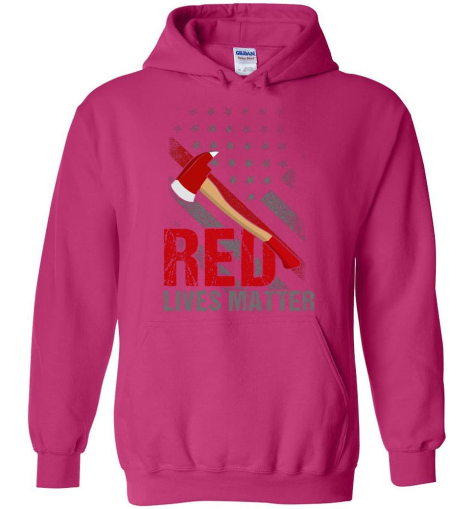 Red Lives Matter Shirt Volunteer Firefighter Shirts Red Line Flag - Hoodie - Heliconia / M