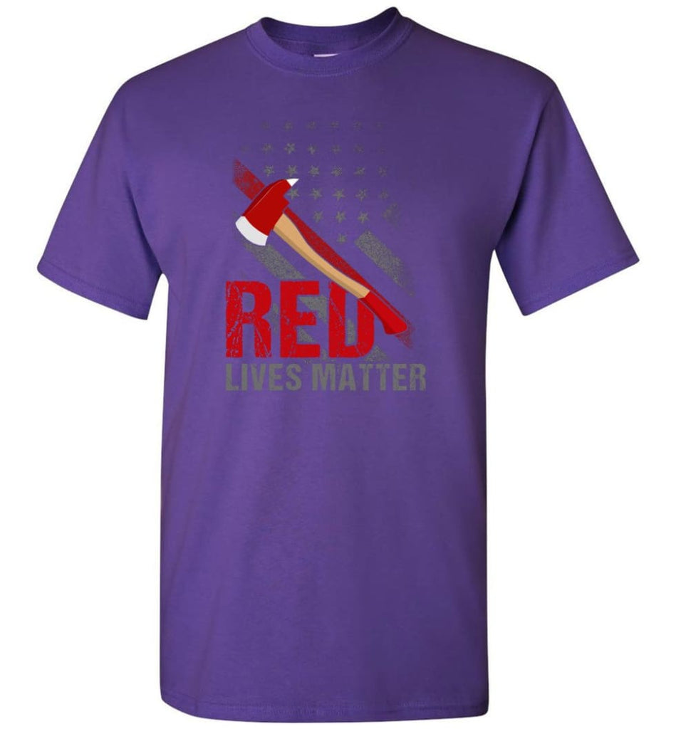 Red Lives Matter Shirt Volunteer Firefighter Shirts Red Line Flag T-Shirt - Purple / S