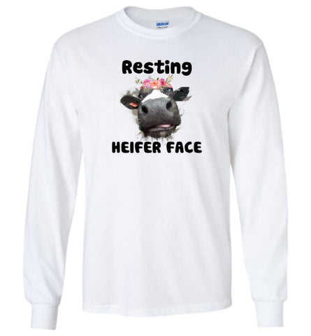 Resting Heifer Face - Long Sleeve - White / M - Long Sleeve