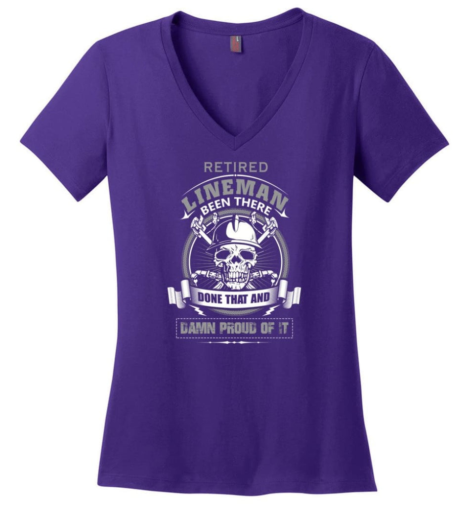 Retired Lineman Been There Damn Proud Of It Best Lineman Gifts - Ladies V-Neck - Purple / M