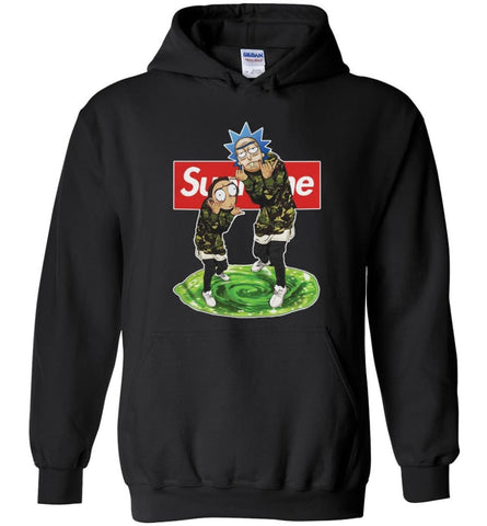 Rick and morty Supreme Hoodie rick morty hooded Sweatshirt schwifty Sweater Christmas rick morty Hoodies - Black / S