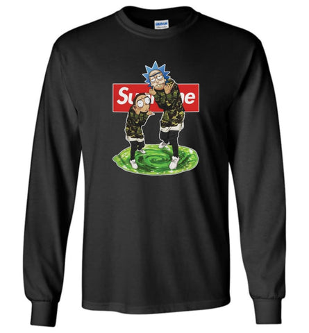 Rick and morty supreme Sweatshirt rick morty schwifty Sweater Christmas Gift Long Sleeve - Black / S