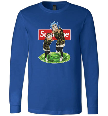 Rick and morty supreme Sweatshirt rick morty schwifty Sweater Christmas Gift Long-Sleeve - True Royal / S