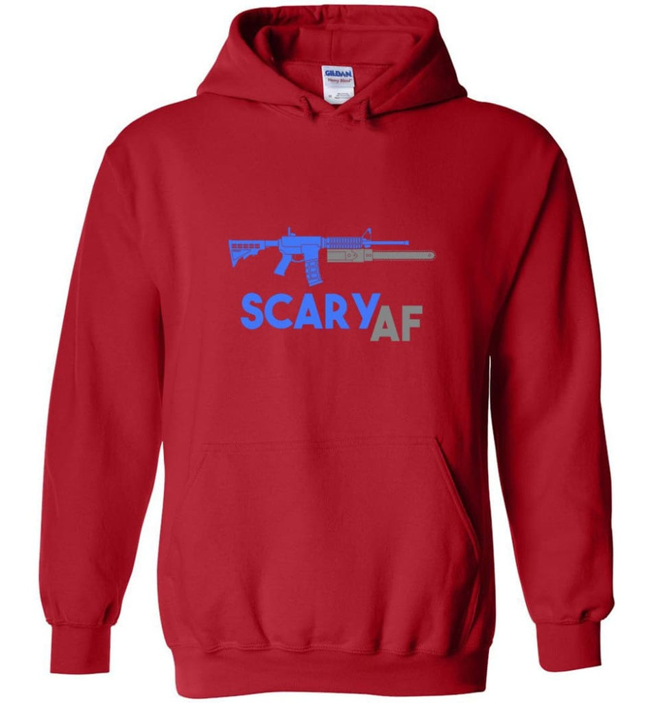 Scary Af Shirt Evil Assault Rifle Ar 15 Gun Version Hoodie - Red / M