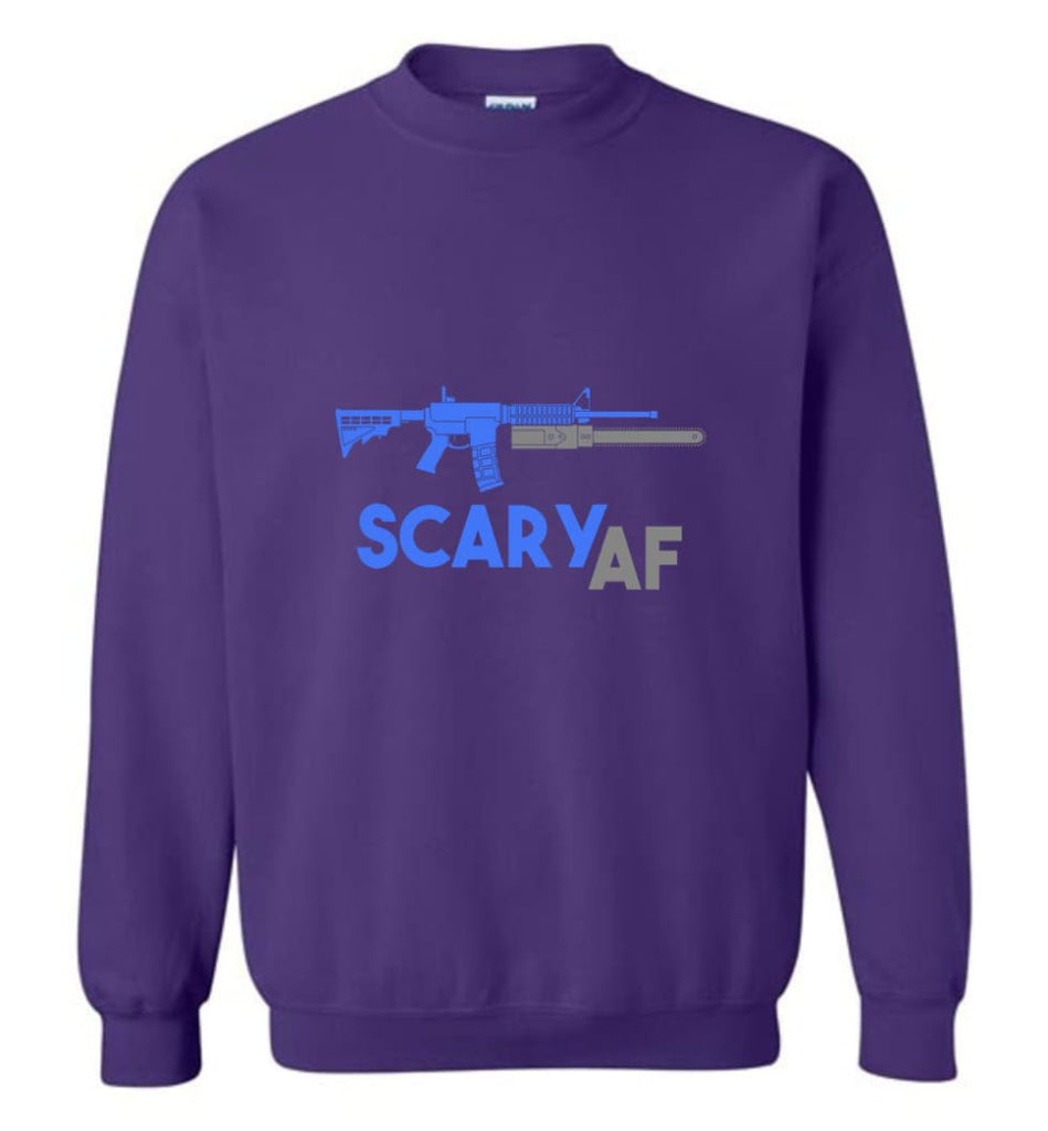 Scary Af Shirt Evil Assault Rifle Ar 15 Gun Version Sweatshirt - Purple / M