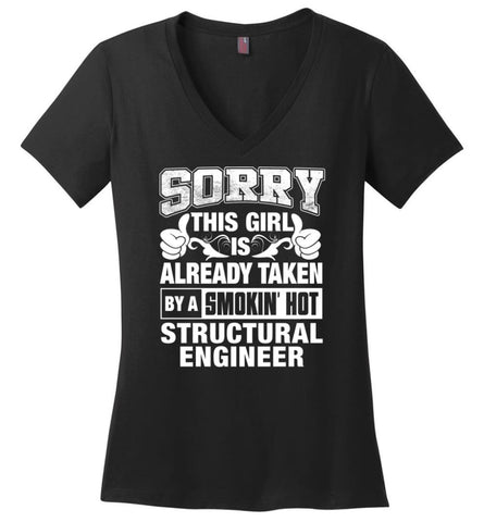 SCIENCIST Shirt Sorry This Girl Is Already Taken By A Smokin' Hot Ladies V-Neck - Black / M - 10