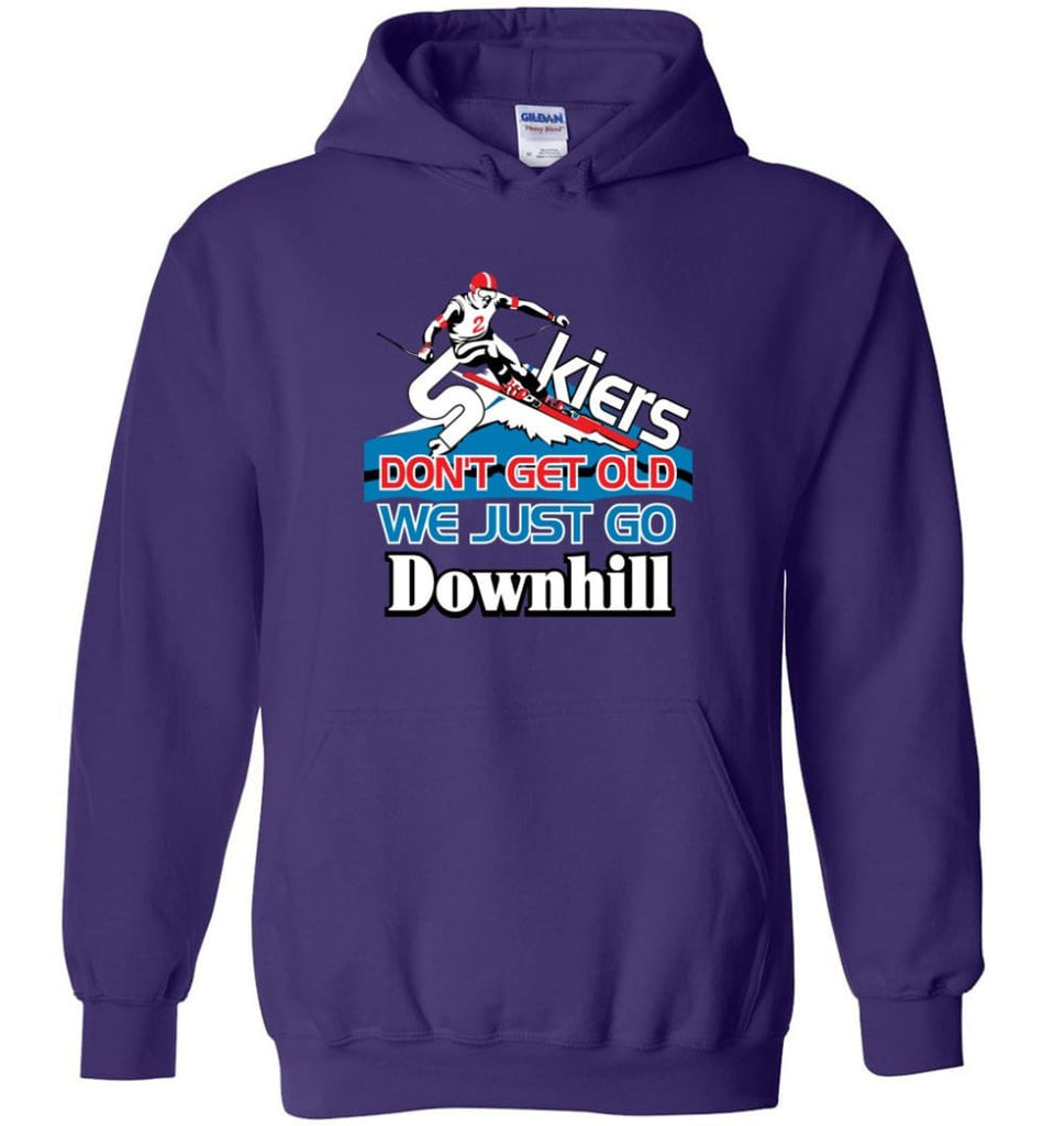 Skiers Don't Get Old We Just Go Downhill Hoodie - Purple / M