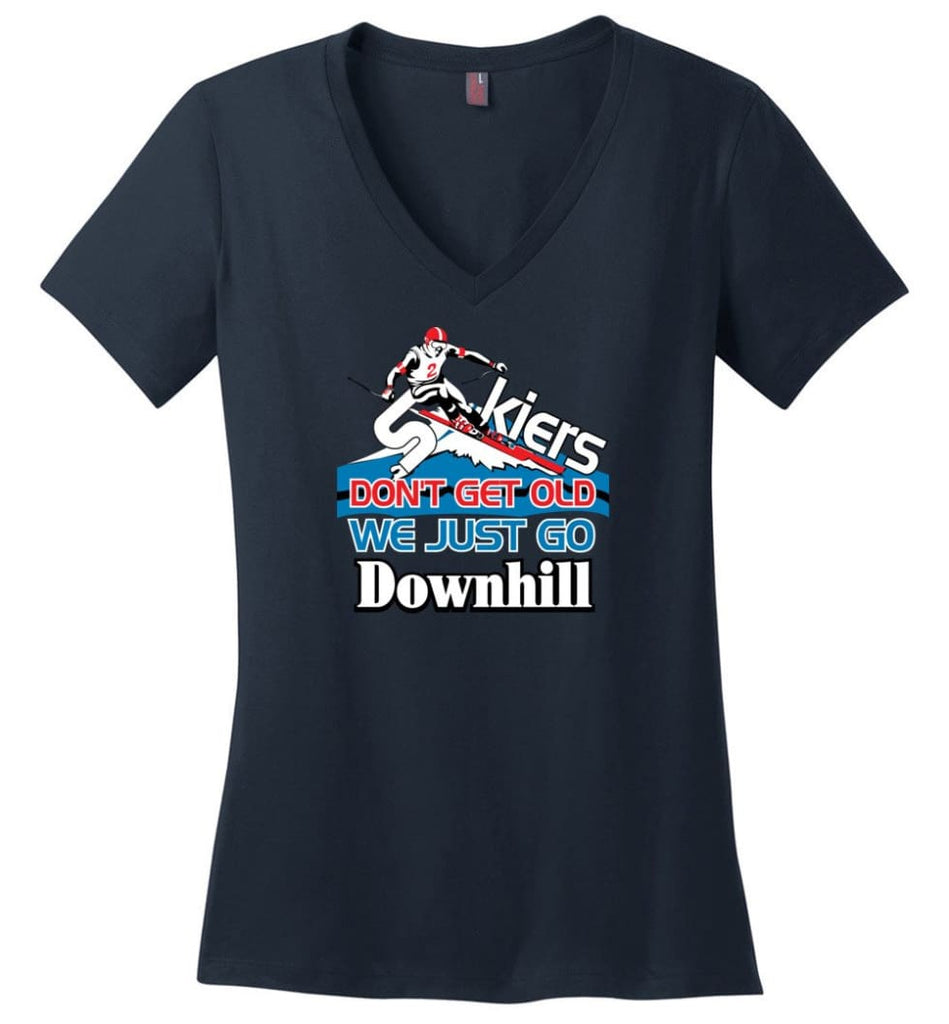 Skiers Don't Get Old We Just Go Downhill Ladies V-Neck - Navy / M