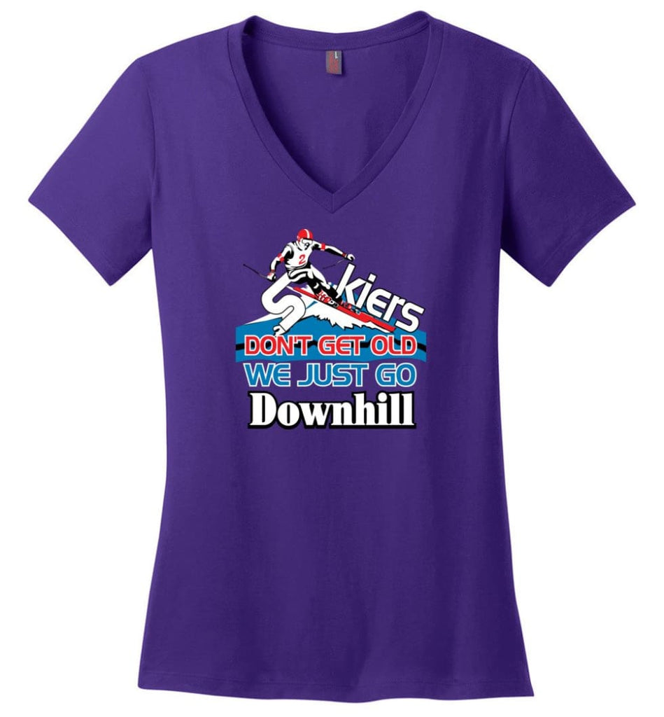 Skiers Don't Get Old We Just Go Downhill Ladies V-Neck - Purple / M