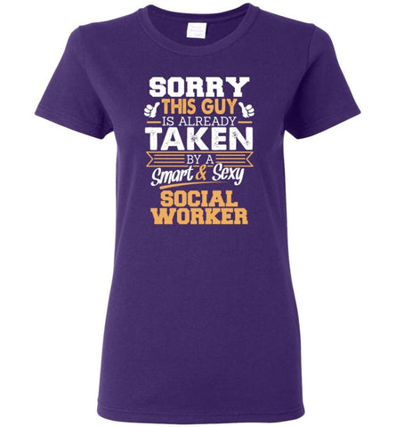 Social Worker Shirt Cool Gift for Boyfriend Husband or Lover Women Tee - Purple / M - 7