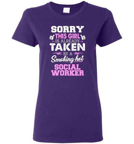 Social Worker Shirt Cool Gift for Girlfriend Wife or Lover Women Tee - Purple / M - 7
