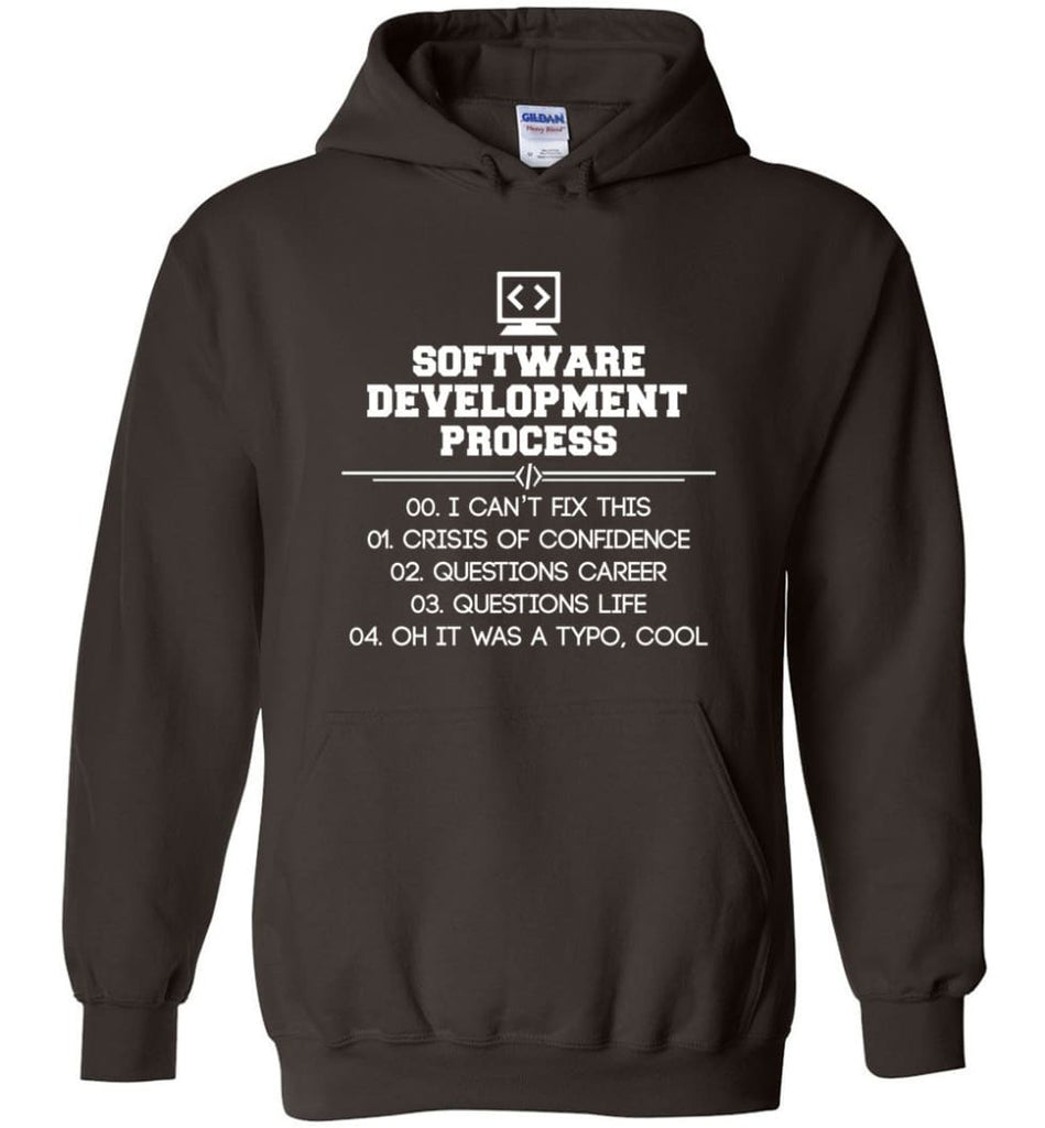 Software Development Process Funny Programming Hoodie - Dark Chocolate / M