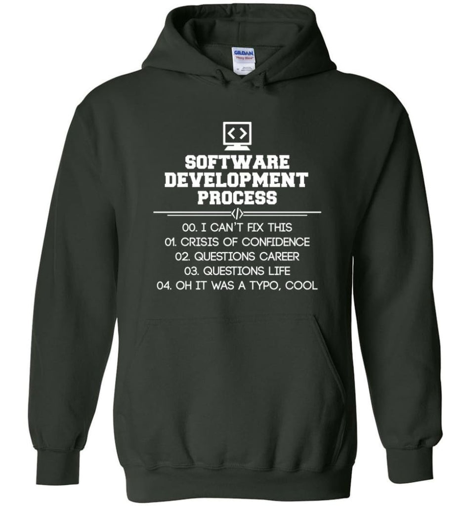Software Development Process Funny Programming Hoodie - Forest Green / M