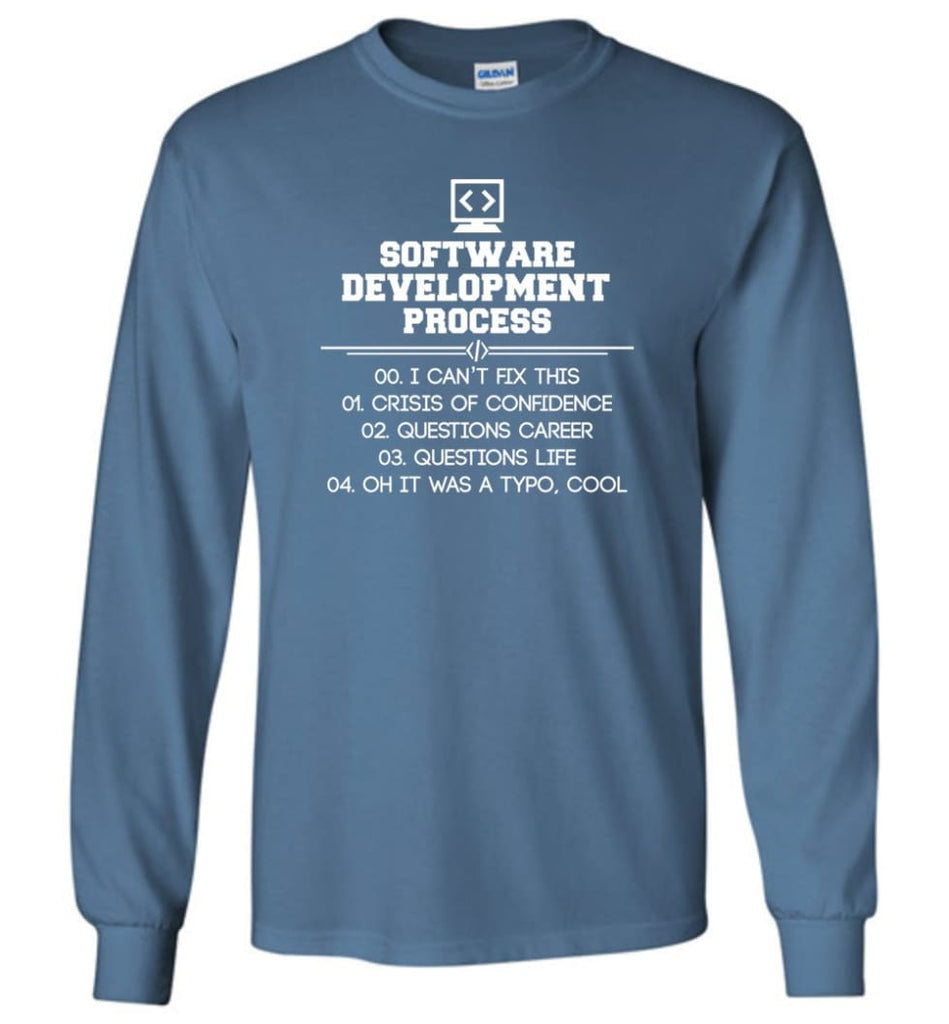 Software Development Process Funny Programming Long Sleeve T-Shirt - Indigo Blue / M