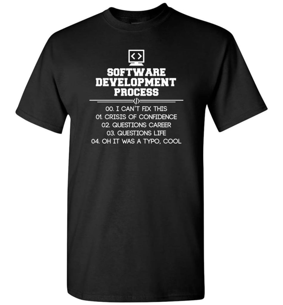 Software Development Process Funny Programming T-Shirt - Black / S