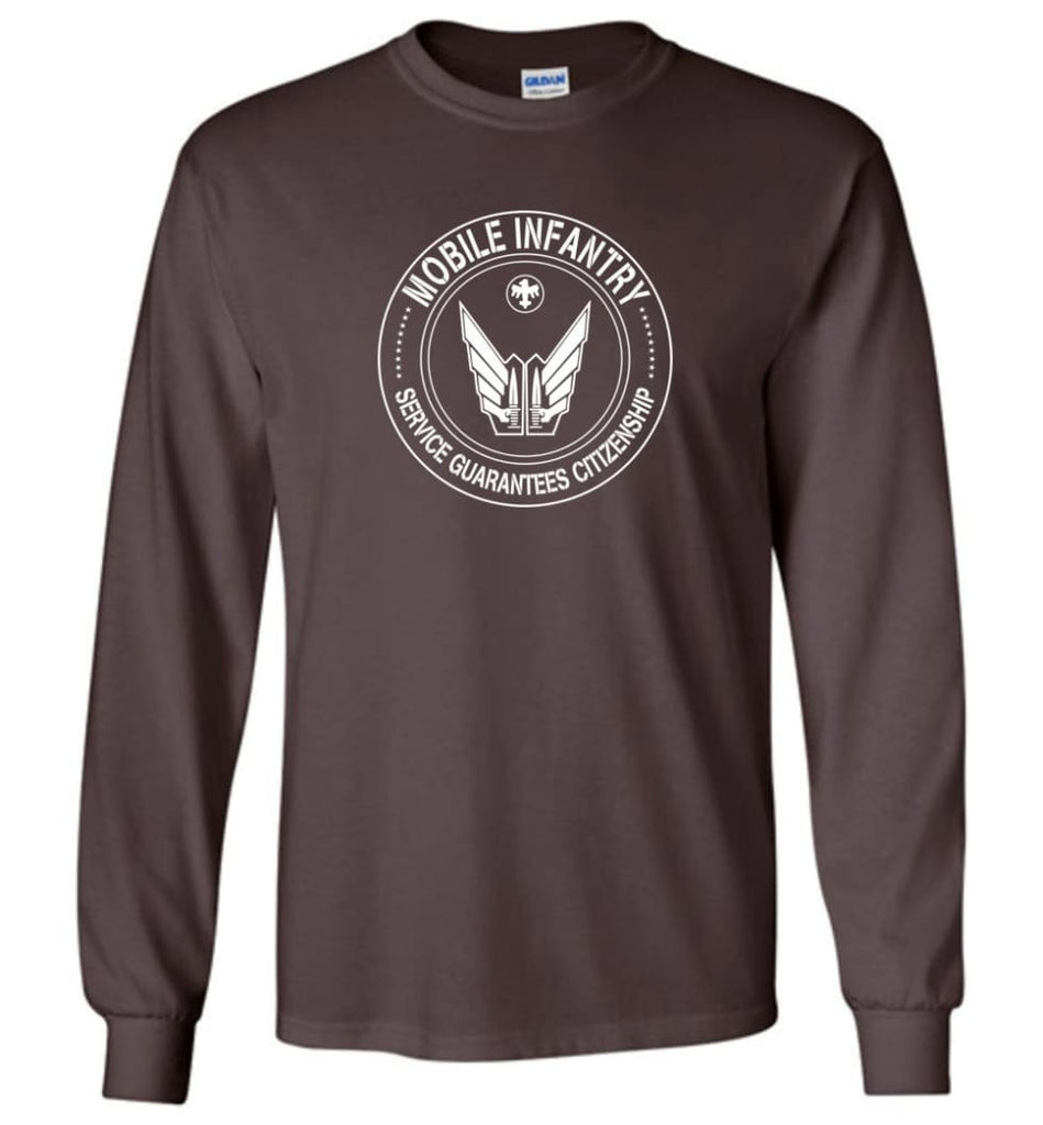Starship Troopers Movie T Shirt Mobile Infantry Service Guarantees Citizenship - Long Sleeve T-Shirt - Dark Chocolate /