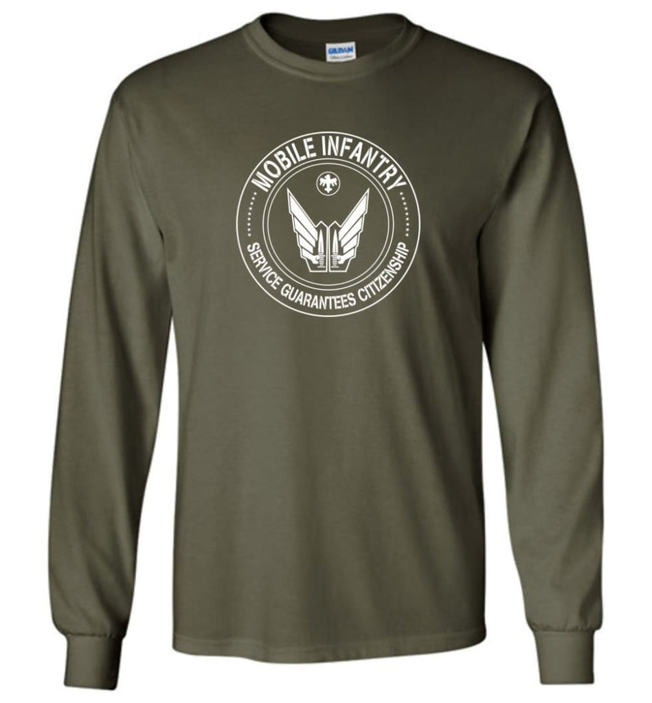 Starship Troopers Movie T Shirt Mobile Infantry Service Guarantees Citizenship - Long Sleeve T-Shirt - Military Green /