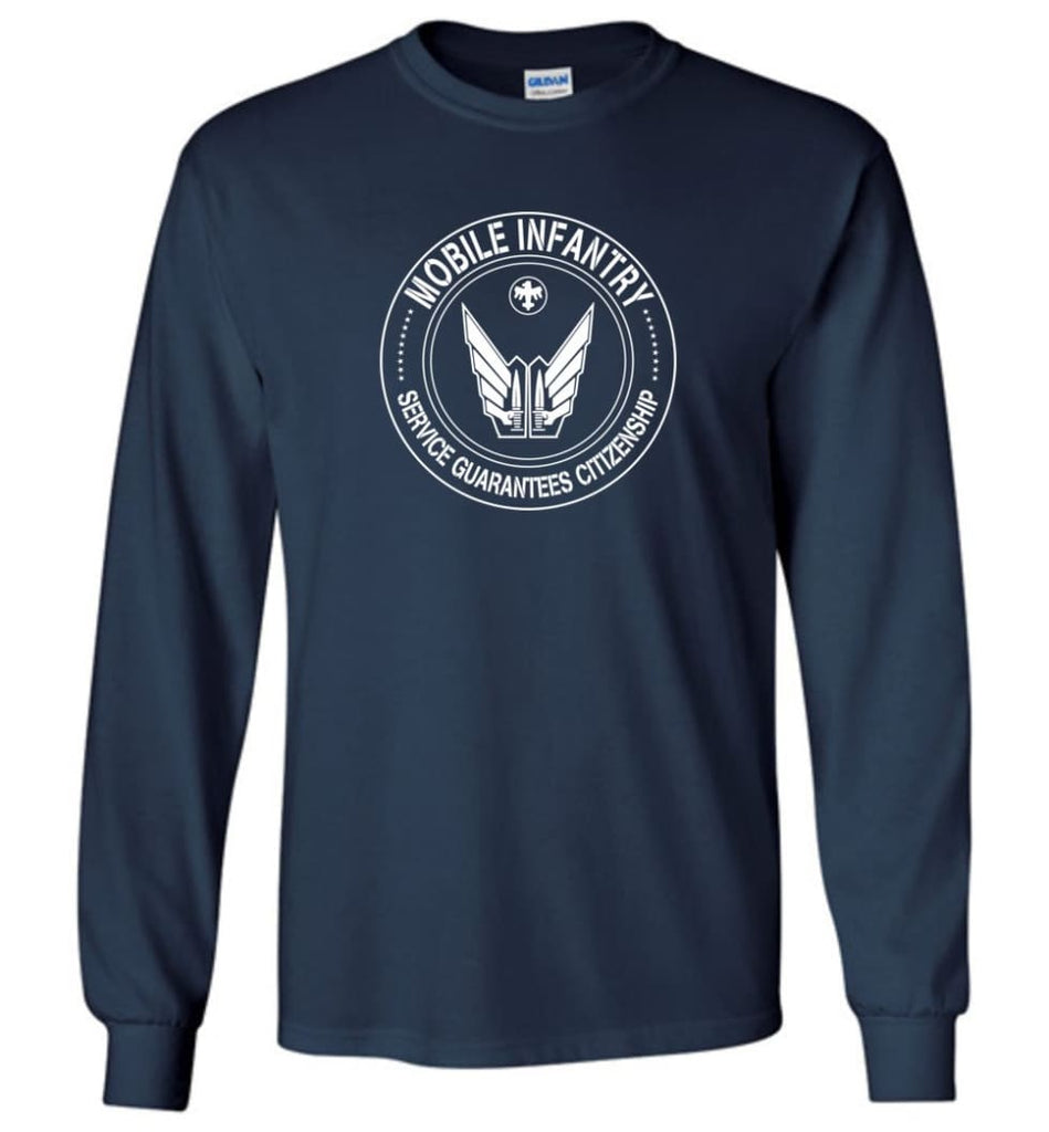 Starship Troopers Movie T Shirt Mobile Infantry Service Guarantees Citizenship - Long Sleeve T-Shirt - Navy / M
