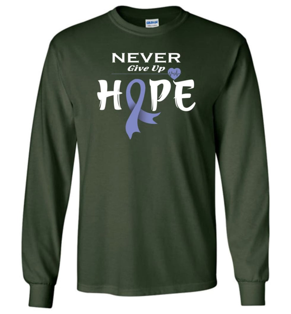 Stomach Cancer Awareness Never Give Up Hope Long Sleeve T-Shirt - Forest Green / M