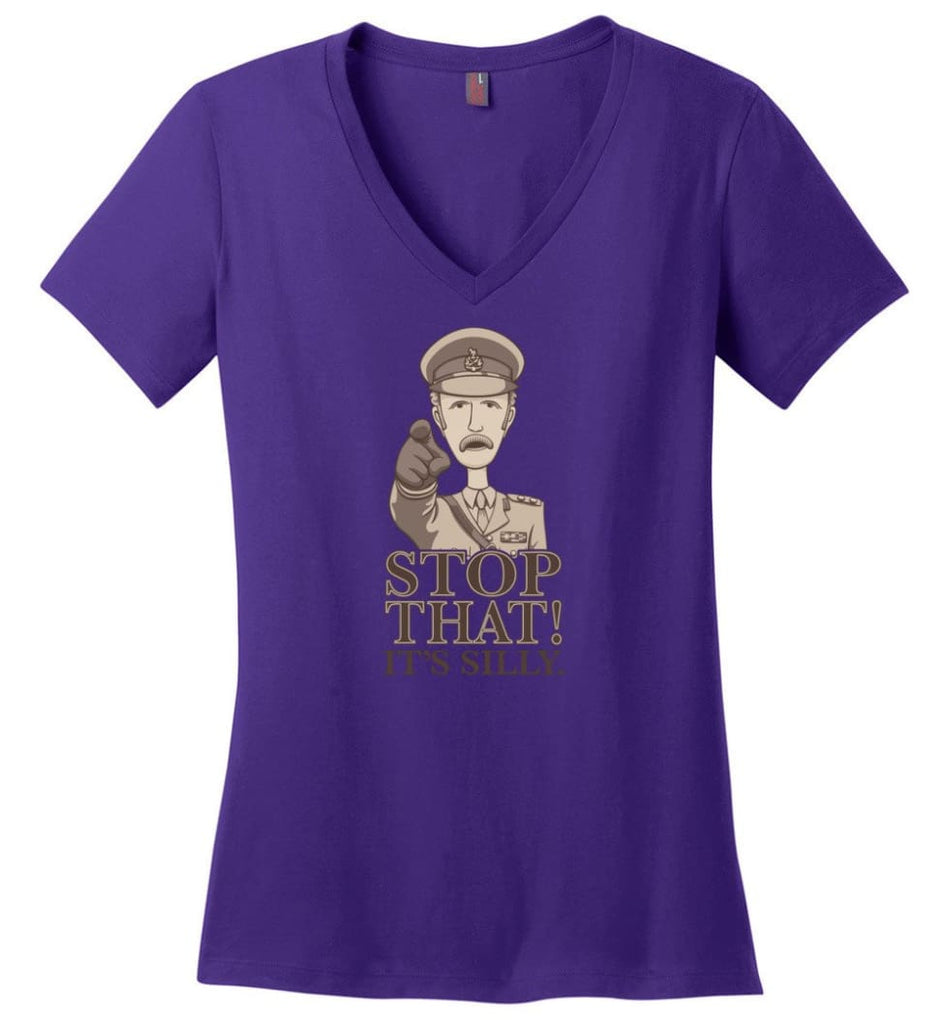 Stop That It's Silly Monty Python T Shirt - Ladies V-Neck - Purple / M