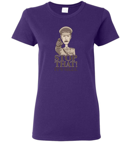 Stop That It's Silly Monty Python T Shirt Women Tee - Purple / M